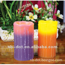 color changing led candle, drips pillar wax led candle