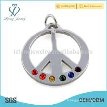 Pendentif symbole gratuit de symbole de paix, pendentif en argent en acier inoxydable, pendentif en cristal coloré