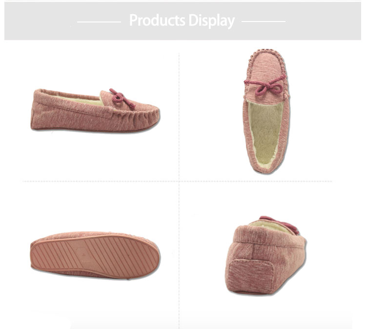 high quality soft pink jersey upper moccasin slipper