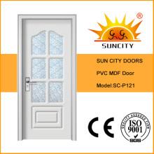 Puerta interior de madera de vidrio blanco, diseños de puertas principales (SC-P121)