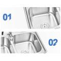AISI 304 Double Drainer Waschbecken aus Edelstahl