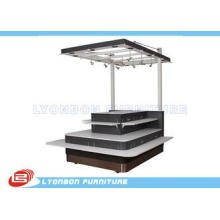 MDF Shopping Mall Wooden Kiosk With Wheels , SGS Mobile Dis