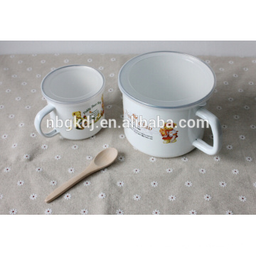 14cm(1400ml) enamel mug with SS rim and PE lid or metal lids