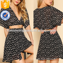 Floral Crop Wrap Top & Skirt Manufacture Wholesale Fashion Women Apparel (TA4002SS)
