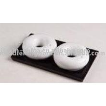 Recipiente de sal y pimienta de cerámica con forma de círculo