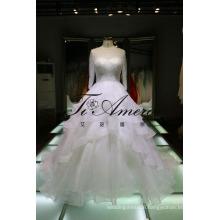 Long Sleeves illusion Neckline Ruffled Wedding Dress with Beaded Bodice