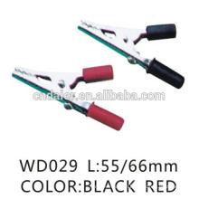 Black and red 12v alligator clips/crocodile earth clamp/55mm alligator clip