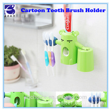 "bathroom accessory lovely bear cartoon kids squeeze toothpaste holder dispenser 9"" plastic toothbrush holder"