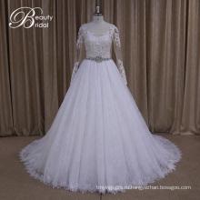 Ak035 довольно длинный рукав мусульманских Свадебные платья