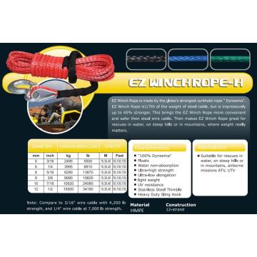 """1/4 """"X 100 ′ Ez Winch Corda-H para Resgate de Água / ATV e UTV / Subida / Missão Aerotransportada"""