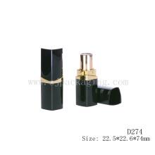 D274 Praça de plástico preto vazio cosméticos batom embalagem