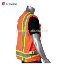 Les vêtements adaptés aux besoins du client de glissière de vêtement de sécurité de construction de sécurité de construction de la veste de chaux de vis de conception élevée avec les bandes réfléchissantes et les poches multiples