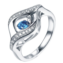 Gemstone Dancing Diamond 925 Silver Rings Jewelry
