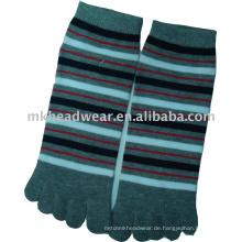 Baumwolle gestrickte Fünf-Zehen-Socke mit Kreuzstreifenmuster