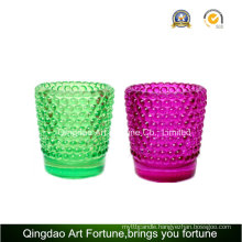 Glass Tealight Candle Holder with Dotted Design Supplier