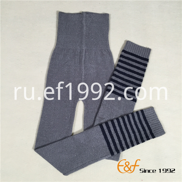 Strip knitted long pants