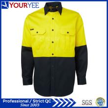 Hola vis manga larga de dos tonos de trabajo al por mayor camisas (yws118)