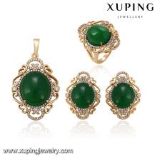 64123 new gold jewellery designs in pakistan 18k elegant big green diamond gold plated jewelry sets