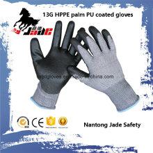 13Г черный PU Покрынный на производстве классам перчатки 3 и 5