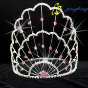 New Copper Line Crown Pink berlian imitasi Tiara