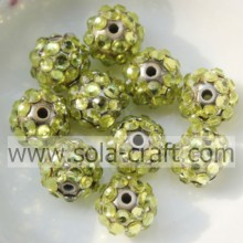 10*12MM Solid Gold Diamond Ball Resin Rhinestone Beads DIY Jewelry Accessories