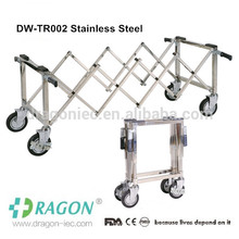 Dragon foldable Aluminum alloy church trollry coffin trolley with four wheels