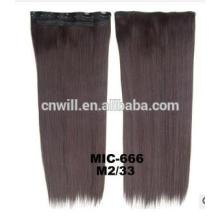 2014 New 24inch color 2 mix 33 Long Women Ladies Clip In On Hair Extensions clip in synthetic hair extensions with 5 clip