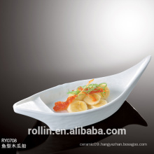 We supply high quality boat shape ceramic material plate