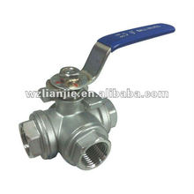 DN15 CF8 Stainless Steel 3 Way Ball Valve Threaded Ends