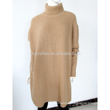 Pretty steps 2017 elegante elegante color sólido Classic camello oversize cashmere suéter de cuello alto para las mujeres