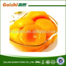 fruta enlatada pêssego amarelo enlatado