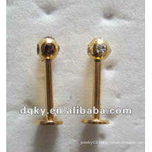 Cheap internally threaded gold labret piercing jewelry