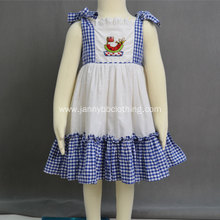 Fashion blue-white check  poplin fabric embroidered dress