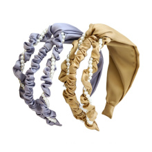 Bandeau Opaska Fabric Pearl Wide Headband Solid Autumn Winter Design Cross Hairband For Women Girl Hair Accessories Lady Gift Wholesale