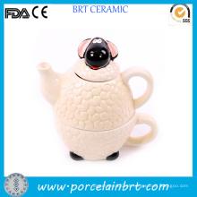Bule de animais em cerâmica branca adorável de ovelha