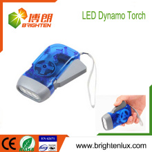 Fabrik Großhandel EDC Logo bedruckt ABS Material billig besten Hand drücken Kurbel 3 LED Dynamo Taschenlampe