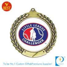 Kundengebundenes hochwertiges Kupfer, das Baseball-Medaille 3D mit gedrucktem Paster stempelt