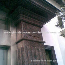 Polished Sapphire Brown Granite Cornice Molding, in Red Color, Various Designs are Available