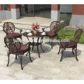 High grade outdoor cast aluminum dining chair and table garden furniture set cast aluminum chair