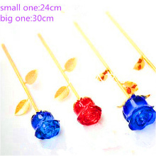 Best price superior quality new design rose craft crystal for girls glass flower