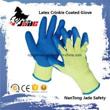 10g de palma de algodón látex de arrugas de acabado guantes de trabajo de seguridad recubiertos