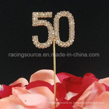 50th Number Gold Wedding Annivesary Rhinestone Wedding Cake Topper para la fiesta de cumpleaños