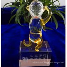 Precioso mono de cristal modelo animal de cristal para la decoración