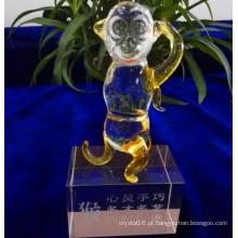 Adorável Macaco Modelo de Cristal de Vidro para Decoração