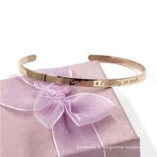 Presente de Natal 4 milímetros de ouro rosa customerized bracelete pulseira de jóias de aço inoxidável