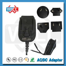 2017 high quality 12V 1A 1.5A interchangeable plug power adapter