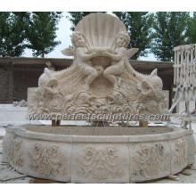 Fuente de pared de jardín con mármol de piedra de acabado antiguo (SY-W154)