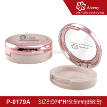 Pink face powder case / makeup pressed powder compact case / cosmetics round shaped container packaging
