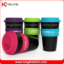 Cheap 500ml Silicone Coffee Cup with Sillicone Band and Cover ODM (KL-CP004)