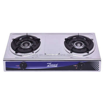 Stainless Steel Double Burner Gas Stove, Desktop, Blue Fire